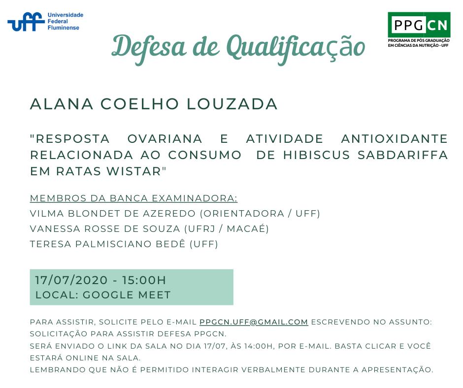 Defesa de Qualificação da aluna Alana Coelho Louzada